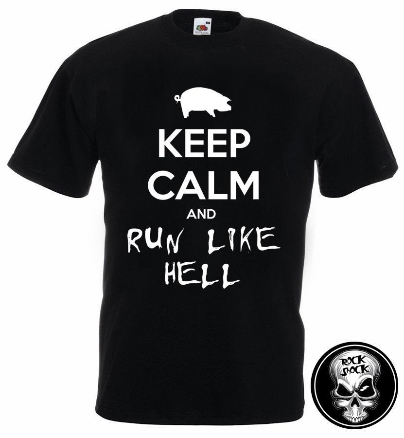 8073484bcb275 PINK FLOYD KEEP CALM and RUN LIKE HELL Men T-Shirt Parody Wall Pig Slogan  Rock