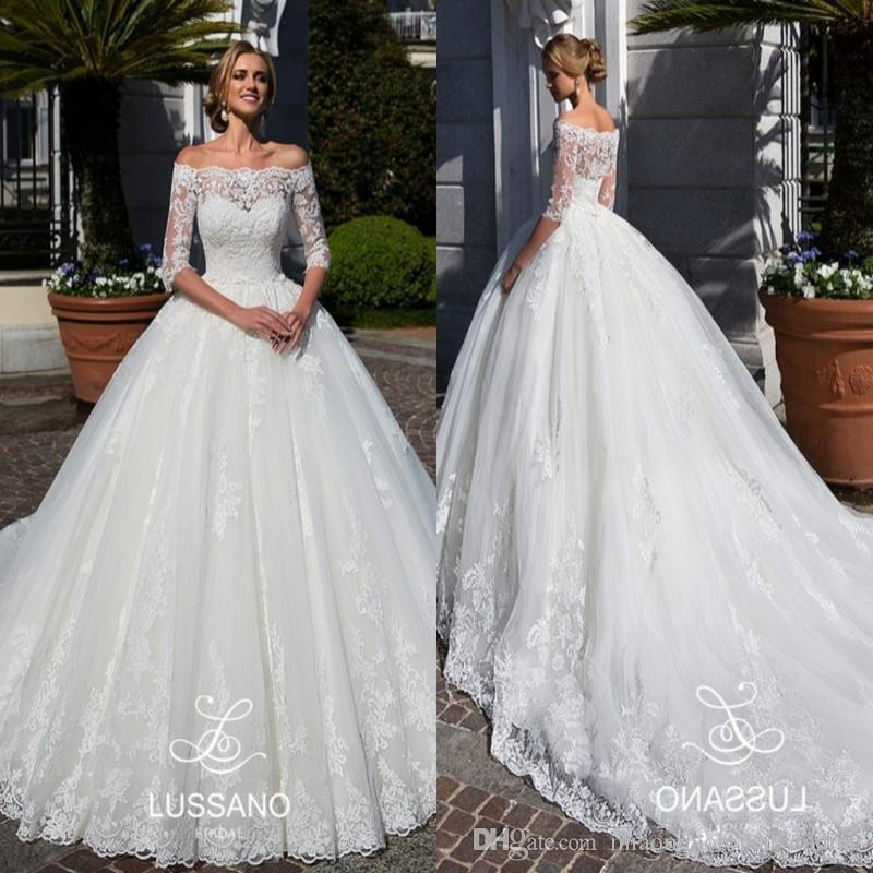 Modest Half Sleeves Lace Wedding Dresses 2018 Arabic Sheer Off