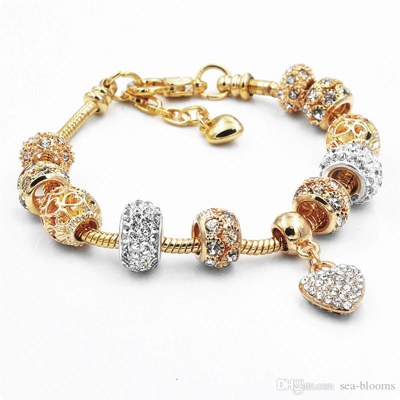 Fashion Alloy Gold Hollow Beads Crystal European Charm Beads Fits Charm Style Bracelets 19+3CM Jewelry D612S