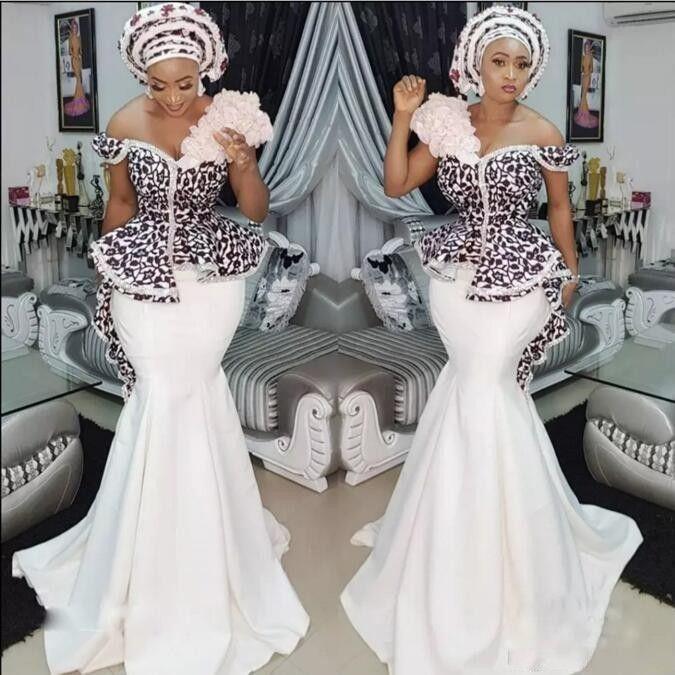 21f53613418 Amazing Aso Ebi Mermaid Prom Dresses Sexy Off Shoulder Lace Applique Peplum  Dubai Party Dresses Glamorous Satin Sweep Train Evening Dresses Make Your  Own ...