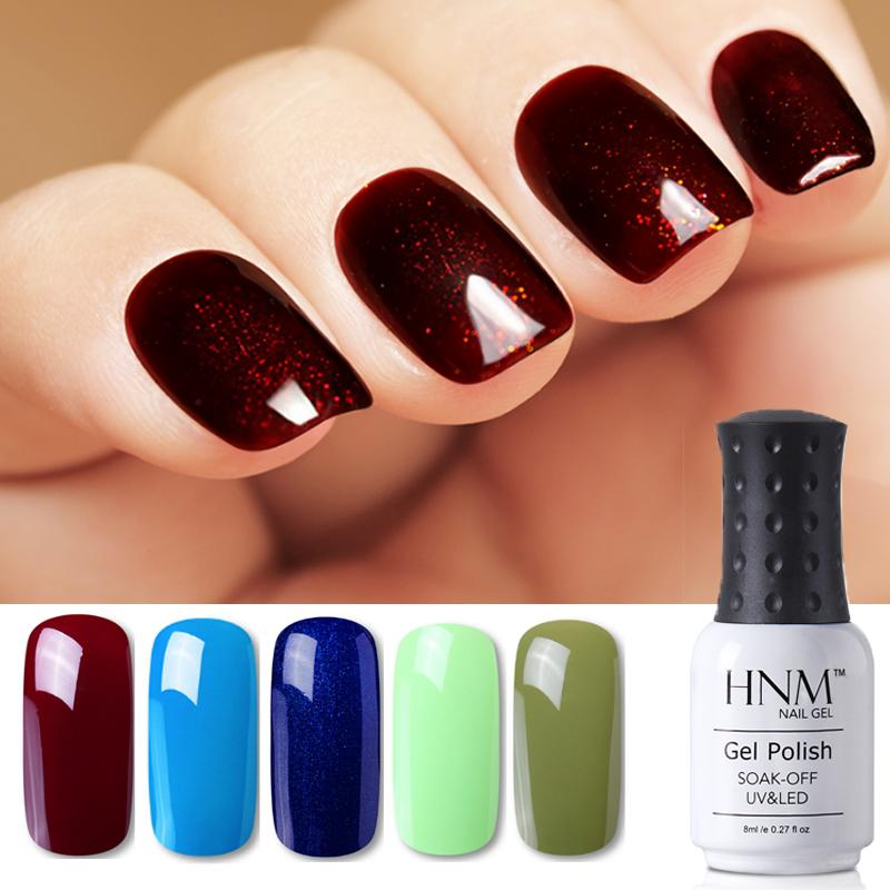 HNM 8ml Blue Red Pink Green Yellow Color Gel Nail Polish UV LED Lamp ...
