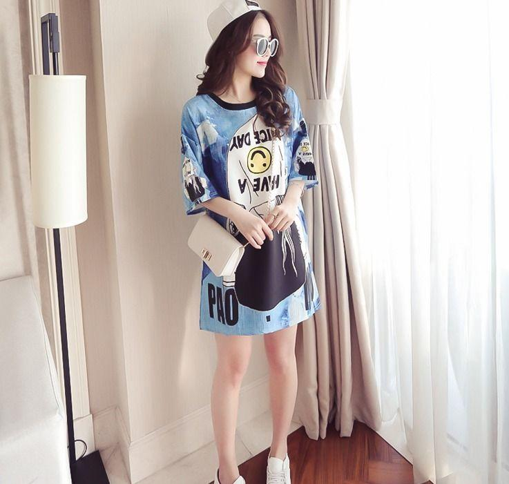 72d4f915a1f 2018 Summer Casual Korean Fashion Cartoon Print Short Sleeve Loose T-Shirt  Dress Online with  13.93 Piece on Angelsdress s Store
