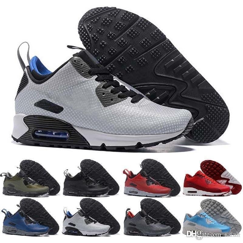 sports shoes b6796 0c202 Acquista Nike Air Max 90 Scarpe Da Uomo Famous Cushion 90 Mid Winter Boots  Uomo Athletic Sports Training Sneakers Scarpe Da Corsa Air Size 40 45 A   52.37 ...