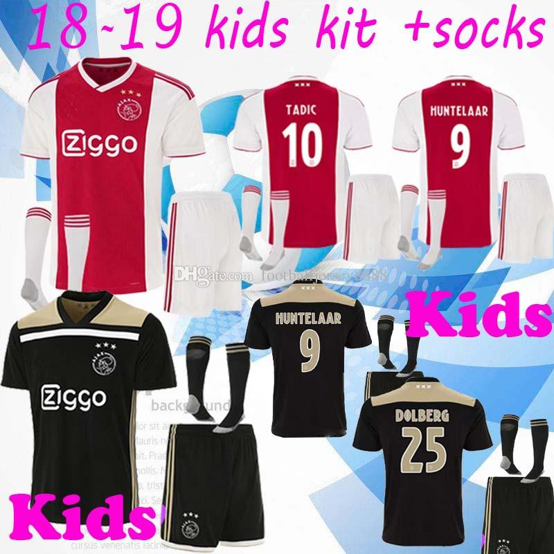 b89818ce3 2018 2019 Best Quality Ajax Kids Soccer Jersey 18 19 Ajax Home Children  Soccer Shirt 2019 Customized  10 KLAASSEN  34 NOURI Football Shirt UK 2019  From ...