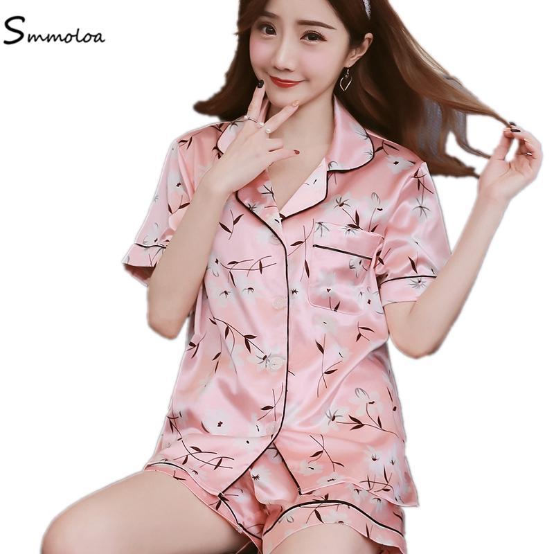 943ec50eb9c2 Women Girls Short Printed Silk Pajamas Set Women Summer Sleepwear ...