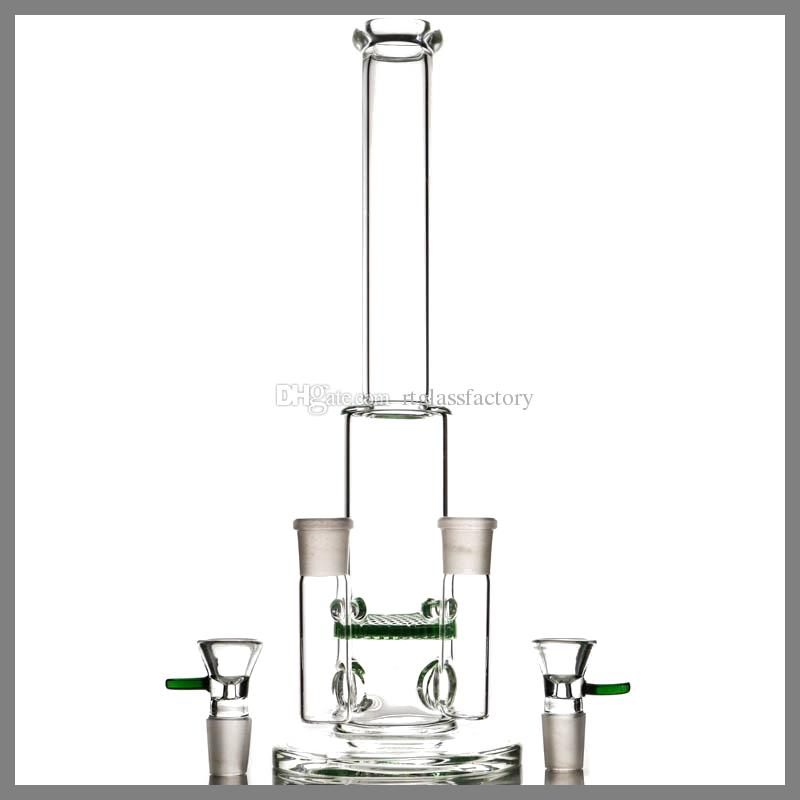 Twin Joint Glass Bong Characteristic with Honeycomb Percolator On Discount Glass Water Pipe Mini Bubbler with Double 18mm Bowl