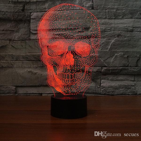 Nueva lámpara de ilusión óptica de Halloween del cráneo 3D Night Light DC 5V USB alimentado 5ª batería Dropshipping