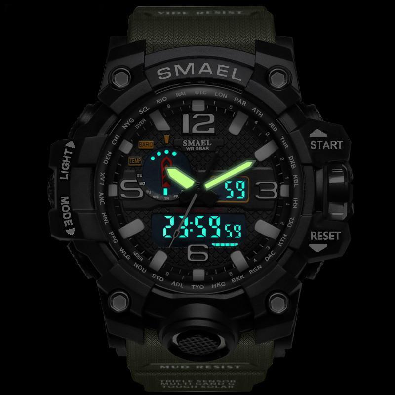 SMAEL 브랜드 남자 스포츠 시계 듀얼 디스플레이 아날로그 디지털 LED 전자 석영 손목 시계 방수 수영 군사 손목 시계