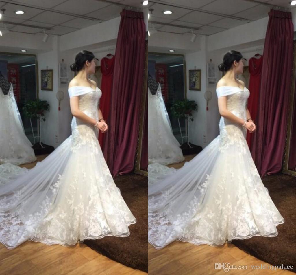 2018 Decent Custom Made Mermaid Wedding Dresses Lace Dresses Court ...