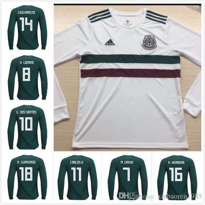 Paris Saint Germain Soccer Jersey Manga Larga 2018 Copa Del Mundo México  Home Green Soccer Jersey México Home Camiseta Del Fútbol   14 Chicharito    10 ... 9a64d7654435a