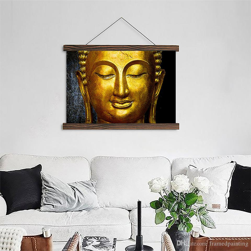 Scroll Canvas Paintings Gold Buddha Posters HD Prints Wooden Frame Pictures Crafts Hanging Home Wall Art Decor For Living Room