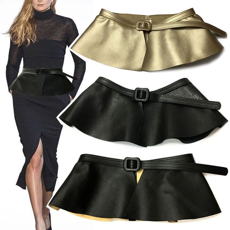 f63c429926d9 DOSOMA Fashion Female Leather Belt Skirt Accessories Black Dress Ruffled  Skirt Waist Wide Sealing For Women Leather Belts Punk Garter Belt Sets  Electrician ...