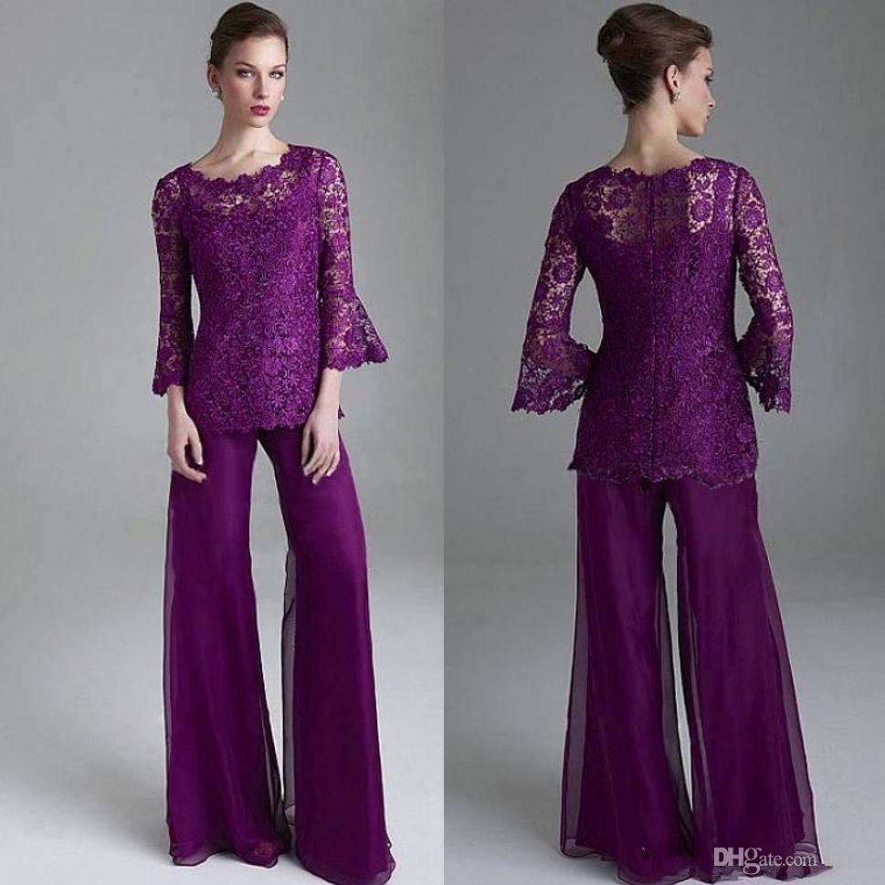 Klas Mor Dantel Anne Gelin Pant Suits Sheer Jewel Boyun Uzun Kollu Düğün Konuk pantsuit Artı Boyutu Anneler Damat Elbiseler