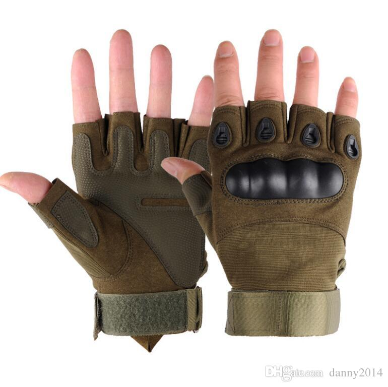 Tactical glove half finger leather gloves outdoor bike cycling glove anti-skidding sporting gloves Fingerless gym fitness gloves men racing
