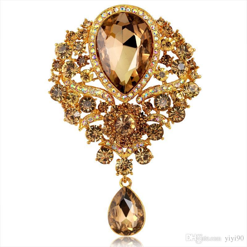 Fashion Flower Austrian Crystal Rhinestone Cubic Zirconia Bouquet Brooch Pin Corsage Teardrop Pendant Bridal Women Girl's Jewelry