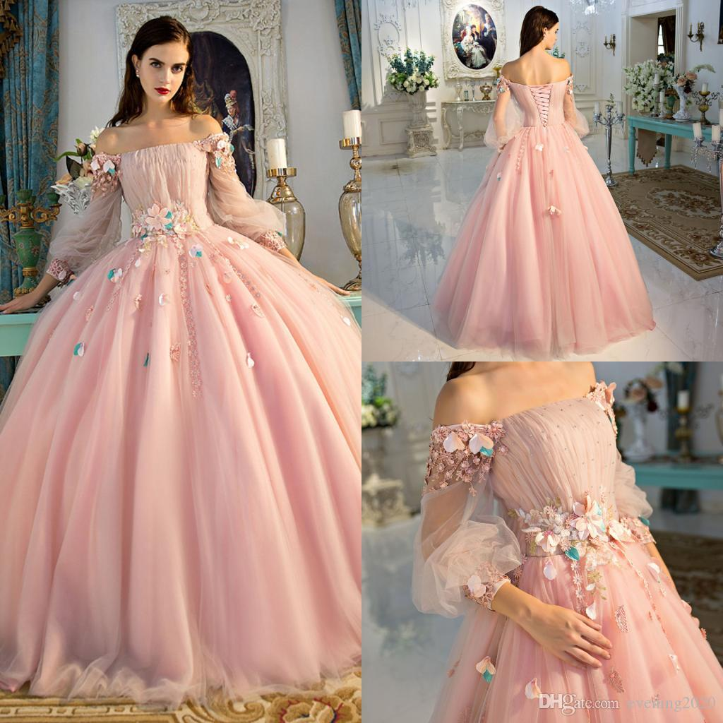 162673d47768 Graceful Pink Ball Gown Prom Dresses Long Sleeve Lace Appliques Lace Up  Special Occasion Dresses Sweet Design Evening Dresses Pink Prom Dresses Uk  Von Maur ...