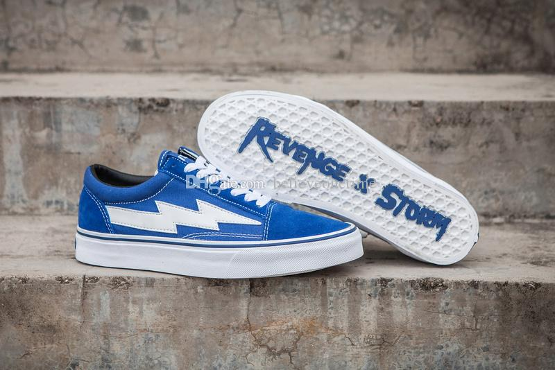 Revenge x Storm Old Skool Pop-up Store Low-cut Limited Sneaker Green Fire Red IAN Teal Flame U.S. Canvas Suede Mens Women Casual Skate Shoes