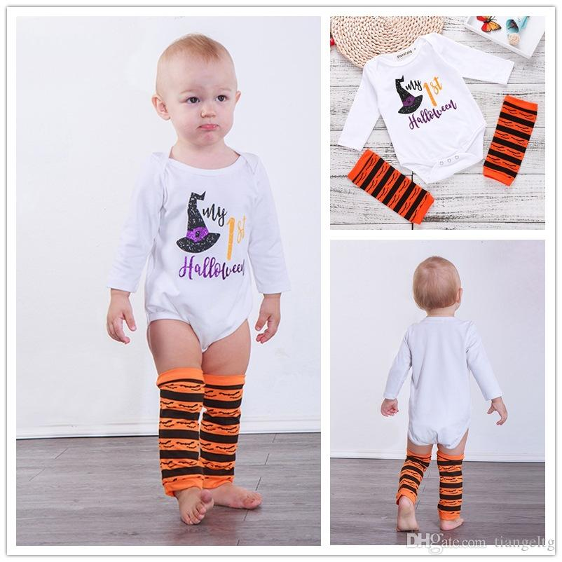 2018 baby halloween romper socks two piece clothing sets my 1st halloween letters romper printed socks girls baby jumpsuit 6 24m from tiangeltg