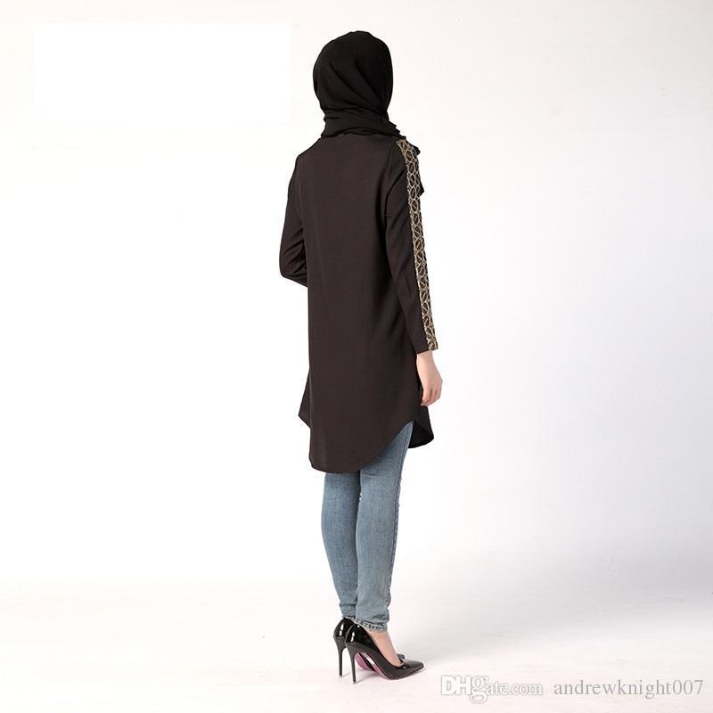Musulmana delle donne allentato casuale camicetta Ramadan speciale arabo Donne camicia a maniche lunghe girocollo Taglie Camicie Ramadan donne arabe DK730MZ