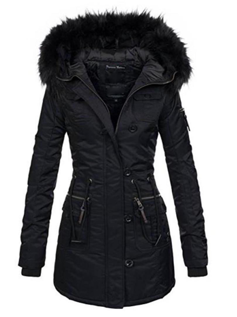 0dddbb40cafba 2018 Women Winter Thicken Warm Coat Female Autumn Hooded Cotton Fur Plus  Size Basic Jacket Outerwear Slim Long Ladies Chaqueta Waterproof Jackets  Womens ...