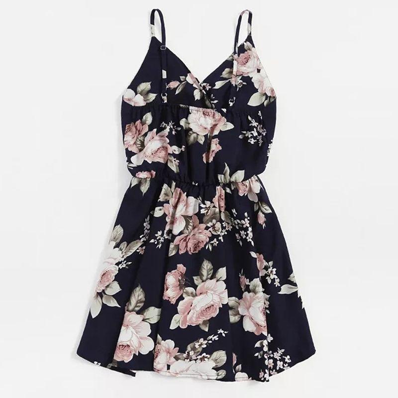 33c81a9d0ce GAOKE Navy Floral Print Random Surplice Women Dress 2018 Sleeveless Floral  Summer Dress V Neck Vacation Pleated Mini Dress