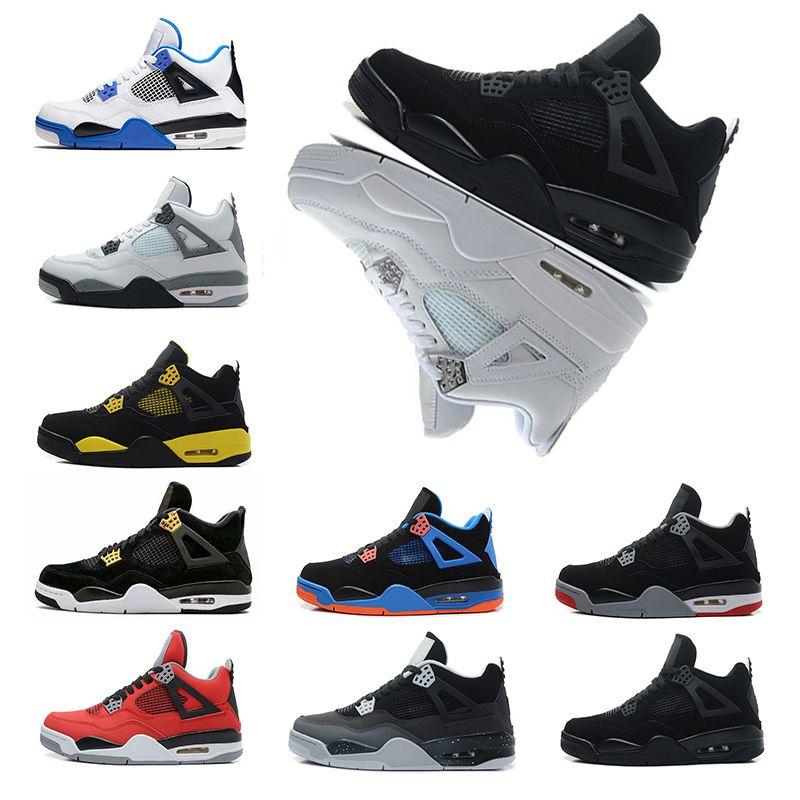 07b640f5c32240 New 4 4s Mens Basketball Shoes Military Motosports Blue Alternate 89 Pure  Money White Cement Royalty Bred Oreo Mens Designer Sneakers PE Kids  Basketball ...