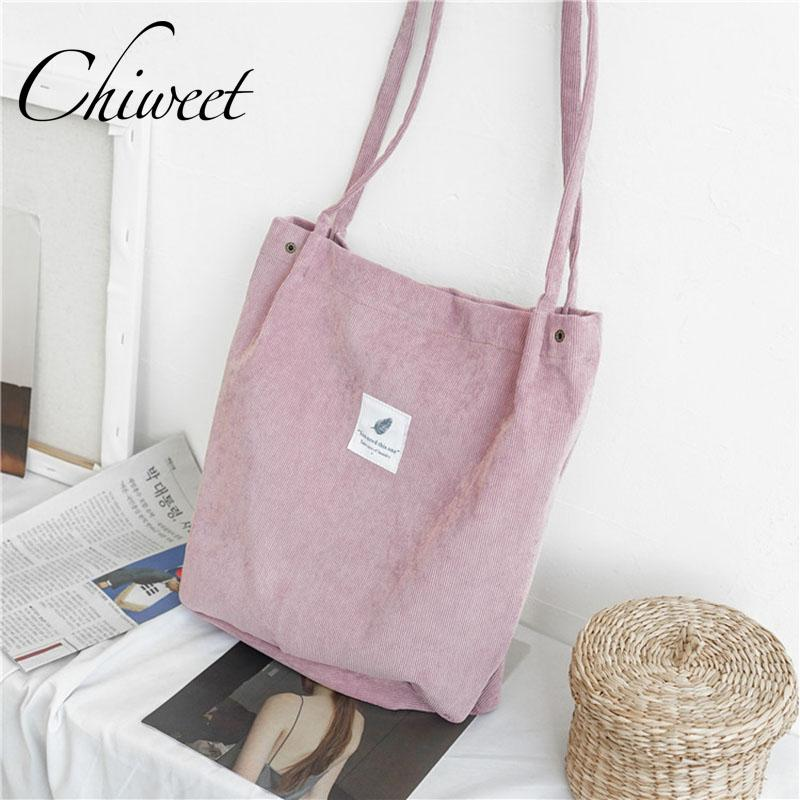 84042f365a73 Casual Canvas Handbags Designer Corduroy Large Women Bags For Shopping  Brand Student Tote Bucket Bag Ladies Vintage Shoulder Bag Leather Purses  Cheap ...