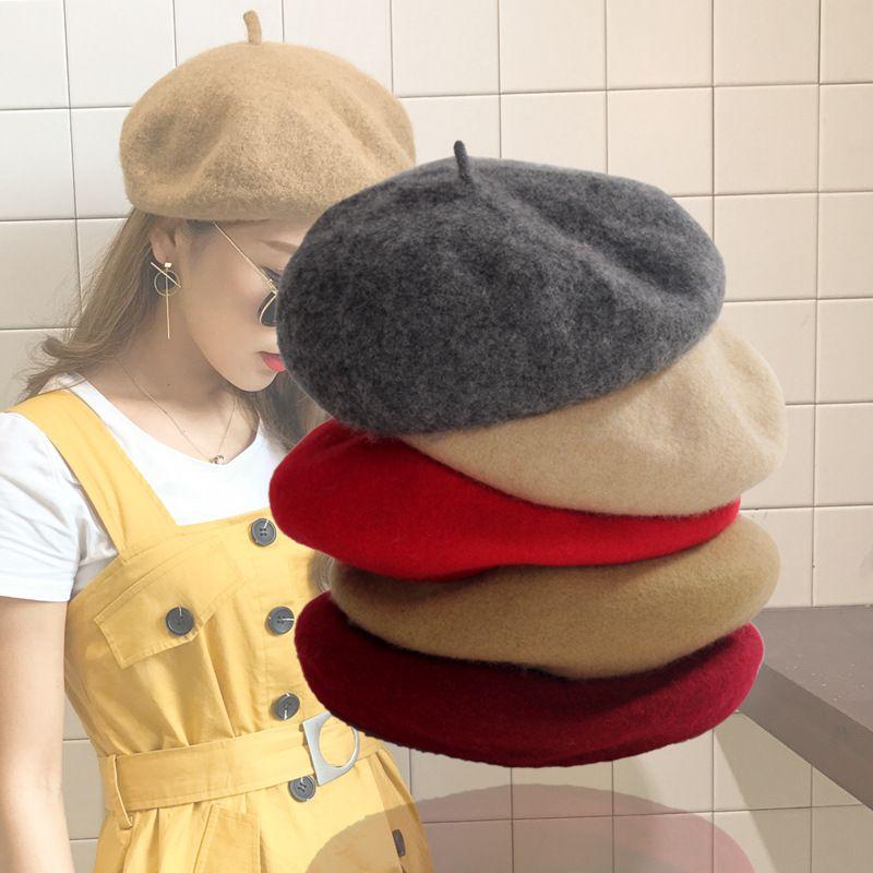 3e39fee2e54 Janvancy Women s Beret Korean Autumn Winter Wool Three-dimensional ...
