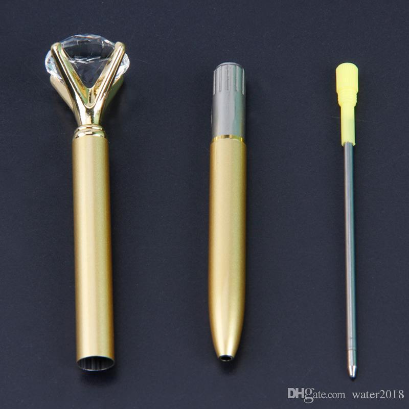 الإبداعية كريستال زجاج Kawaii قلم قلم جوهرة كبيرة الكرة القلم مع كبير الماس 11 ألوان الأزياء مكتب اللوازم المكتبية 362