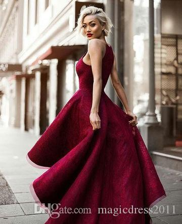 Long Sexy Red Ball Gown Halter Sleeveless Prom Dresses 2019 Yousef Aljasmi Hi-Lo Sweety Lace Runway Fashion Ladies formal tuxedo