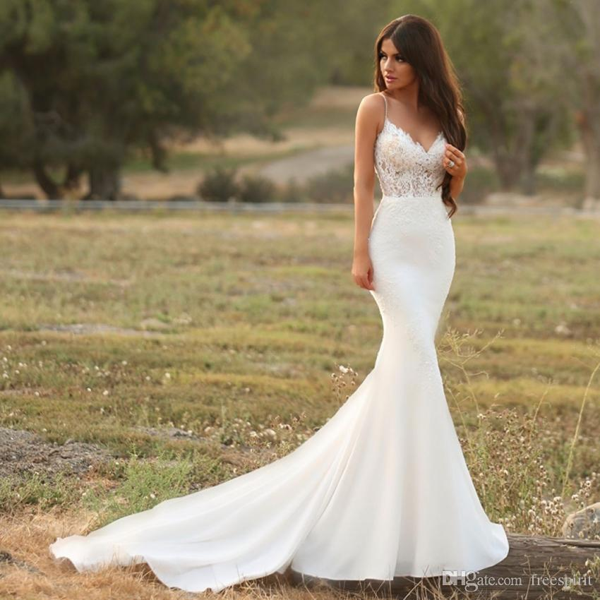 a0d820f94cdb Gorgeous Satin Mermaid Wedding Dress With Lace Spaghetti Strap Backless  Illusion Bridal Gown Modest Simple Reception Dress For Bride Inexpensive  Bridal ...