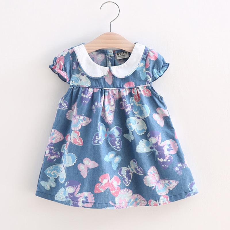BibiCola 2017 Small Girls Dress Full Print girl butterfly flower Kids Princess Dress Baby Girls Summer Clothing Cotton clothes