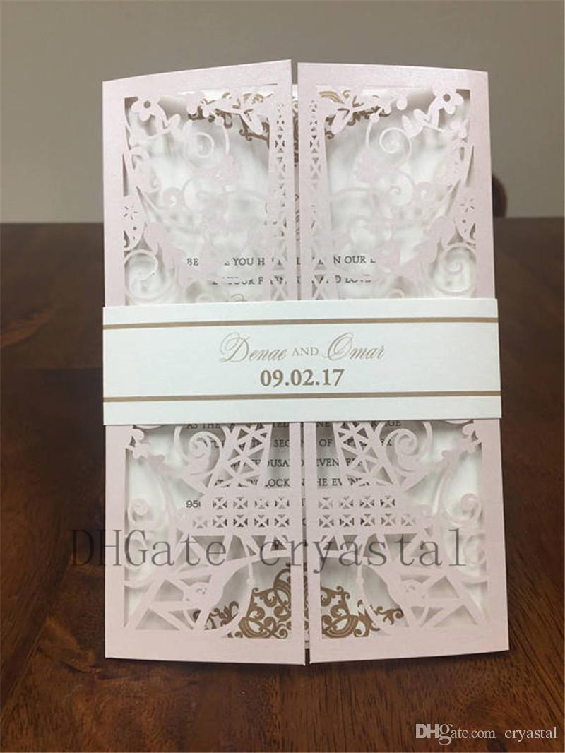 eiffel tower paris laser cut wedding invitations