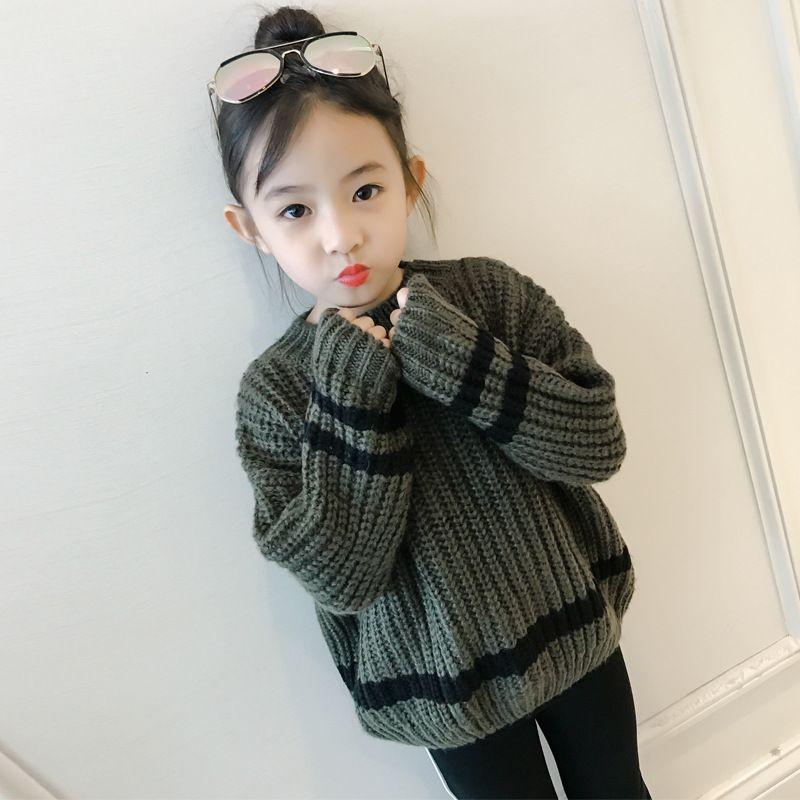 2017 New Winter Sweater Knit Turtleneck Korean Children Thick Long