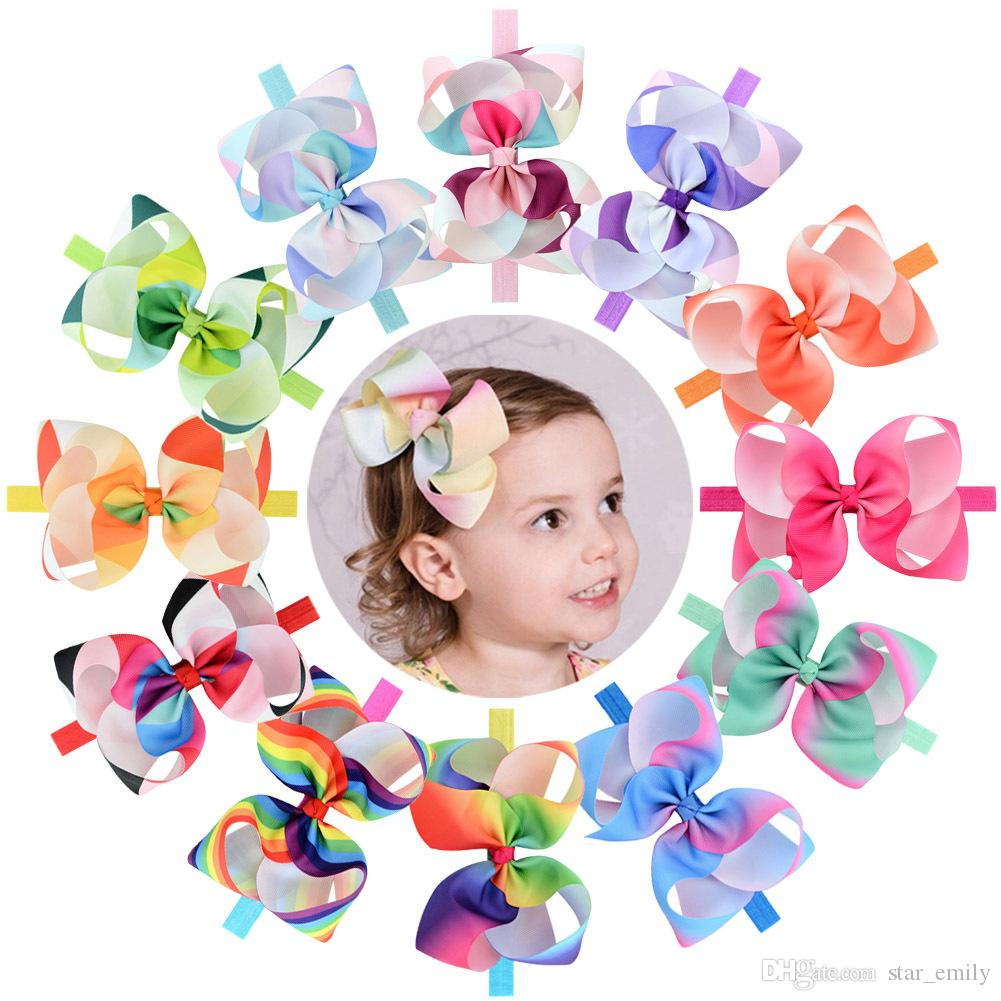 12 Color Baby Big Headbands Girls Cute Bow Hair Band Colorful Lovely Headwrap Children Bowknot Elastic Accessories Butterfly Hair bow 345