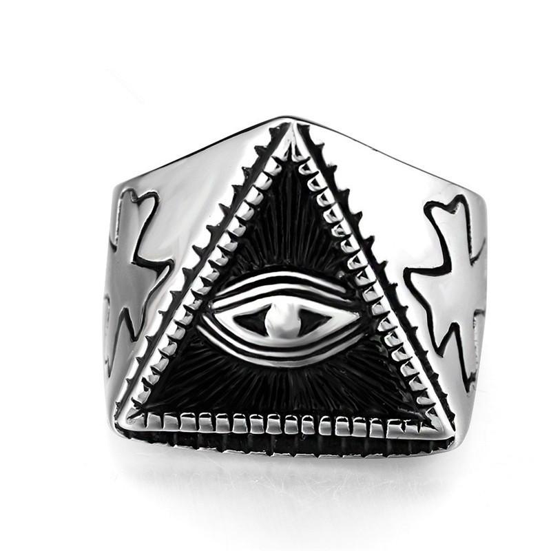 2018 New Illuminati Pyramid Eye Symbol Ring Stainless Steel Jewelry