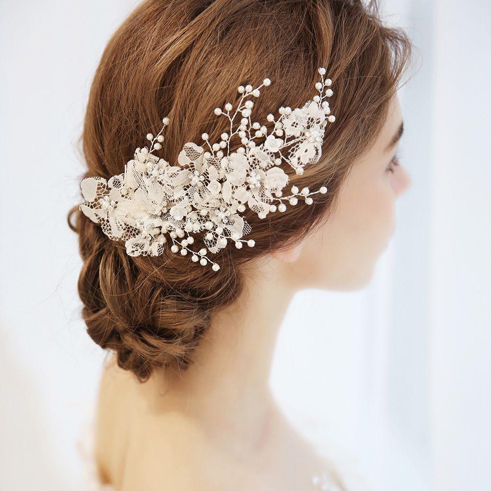 bridal flower side hair clips pearl lace hair pin headpiece headwear  wedding accessories