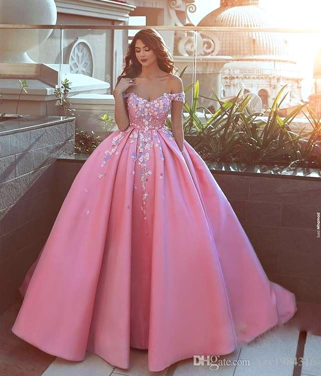 Glamorous Satin Ball Gown Prom Dresses Floral Applique Off Shoulder ...