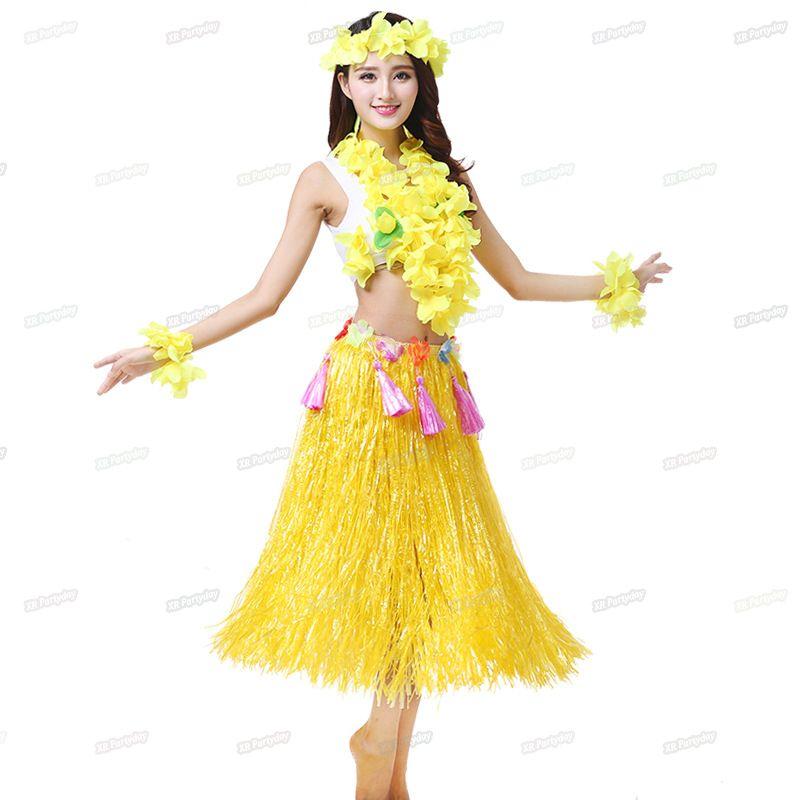 Großhandel 80cm Plastikfasern Frau Hawaiian Hula Rock Hula Grass