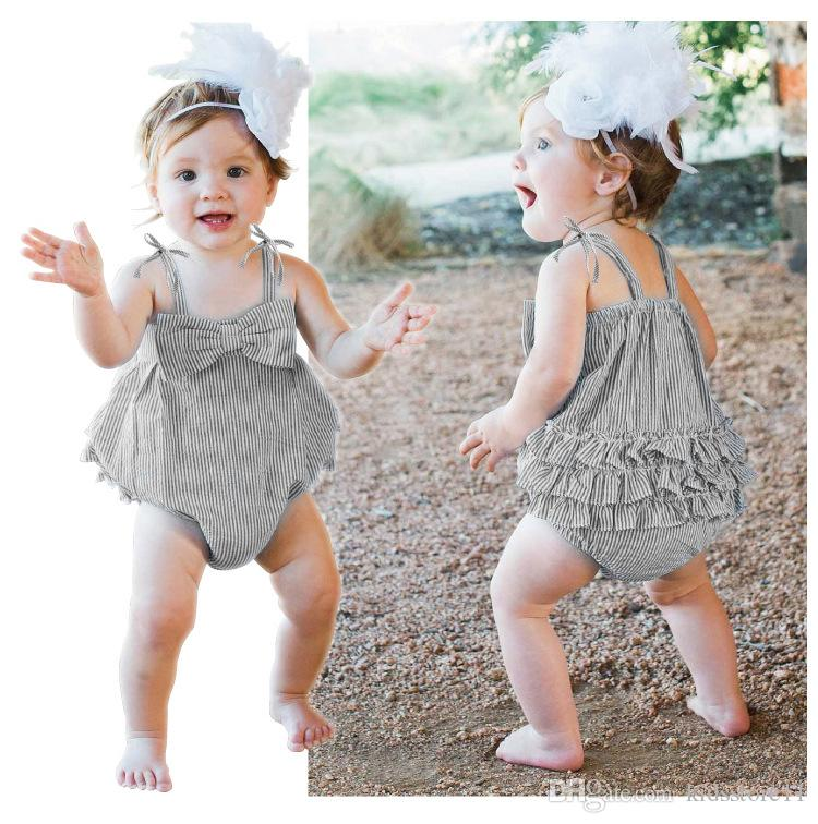645312e40 2018 Summer Baby Striped Rompers INS Infant Bandage Bowknot ...