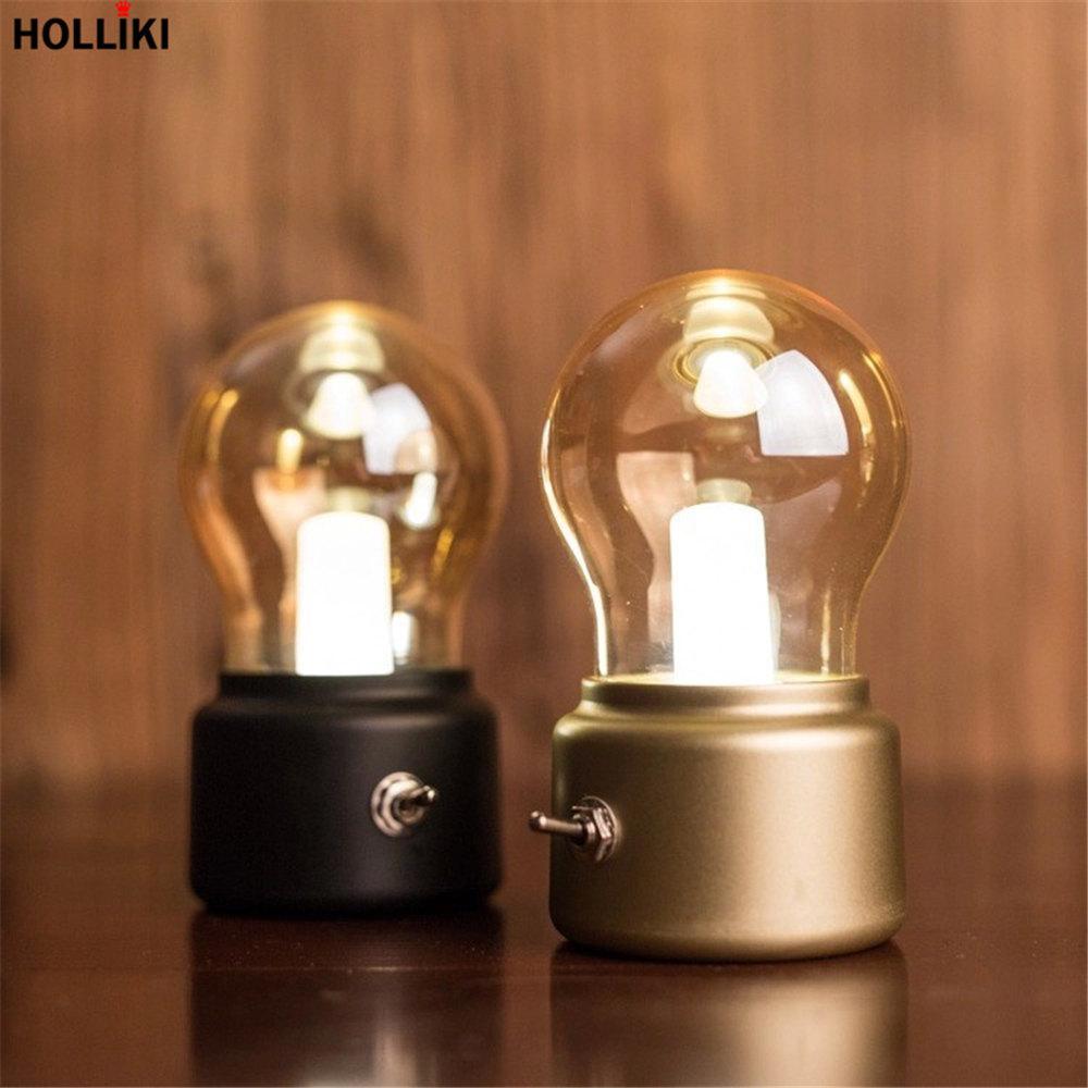 Mini LED Vintage Lampe Schreibtisch Tischlampe Einzigartige Warme Hohe Licht Augenschutz Energiesparende Dimmer USB Wiederaufladbare Retro Lampen