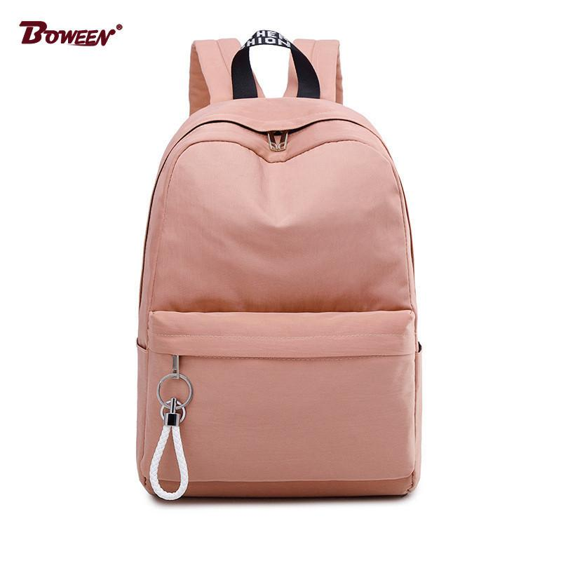 9afb08f0d8 College Wind Schoolbag Backpack Female Teenage Girls High School Student School  Bags Nylon Bagpack Women Bags Big Capacity Solid Men Bags Leather Rucksack  ...