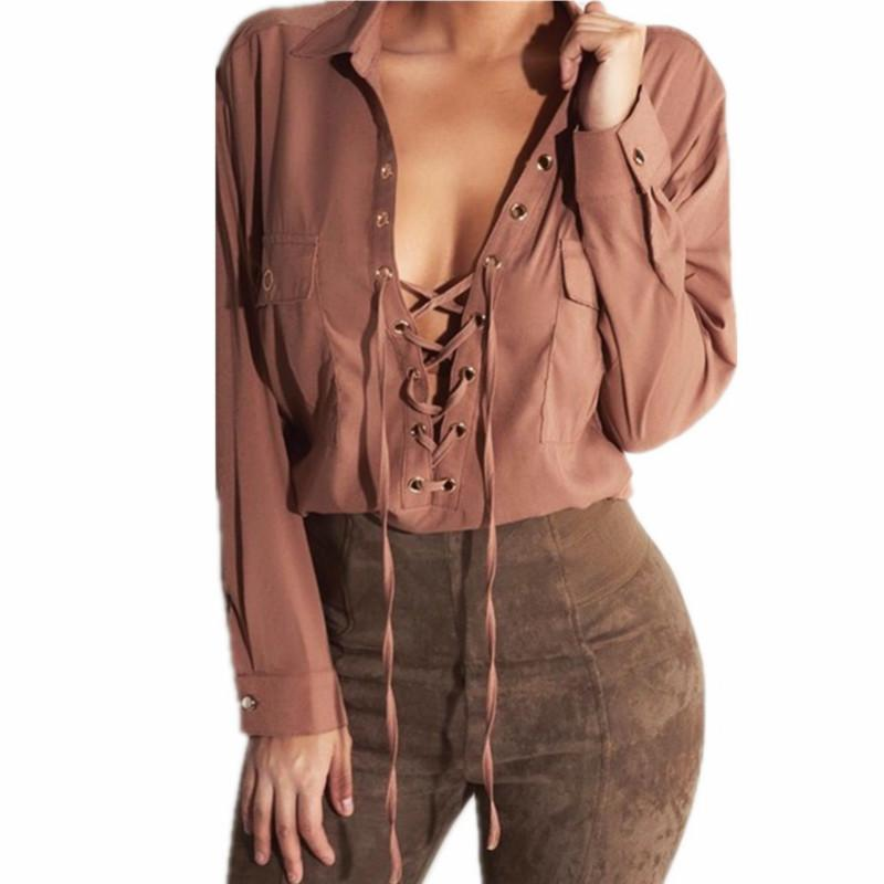 Großhandel Damen Bandage Shirt Mode Frauen Chiffon Bluse Sexy Lace Up V  Ausschnitt Langarmshirts Plus Größe Lässige Blusen Von Bestshirt002,  27.59  Auf De. b0c173812e