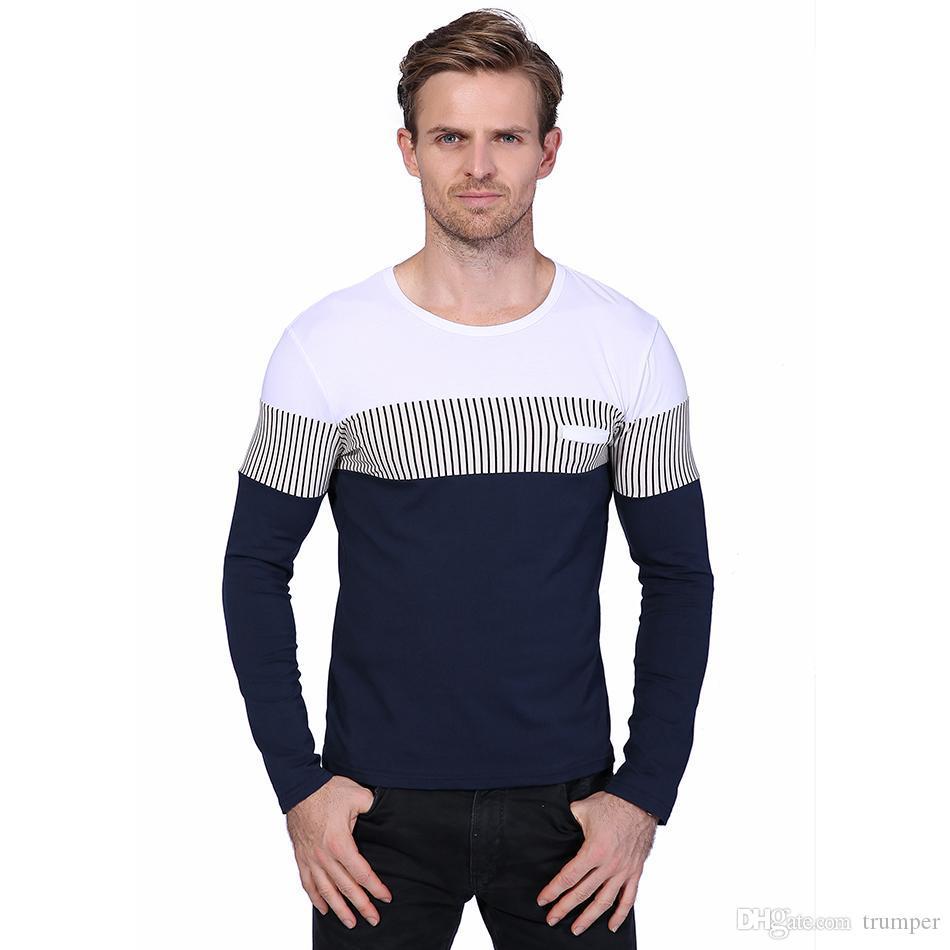 0949c67d027b45 Großhandel New Fashion Classic Patchwork Streifen Männer T Shirt Frühling Langarm  Slim Fit Tops Tees Casual Mens Baumwolle T Shirts M 5xl Yh 029 Von Trumper  ...
