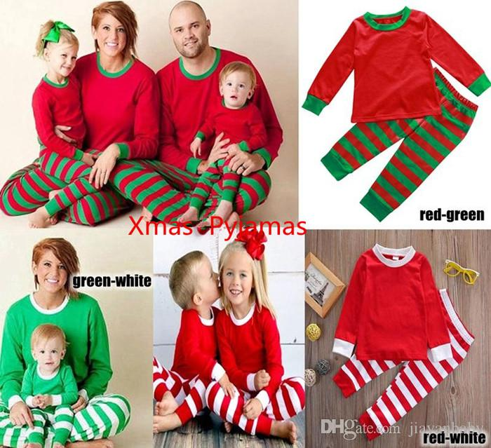 20lot Newest Xmas Kids Adult Family Matching Christmas Deer Striped ... bf3b7e44f