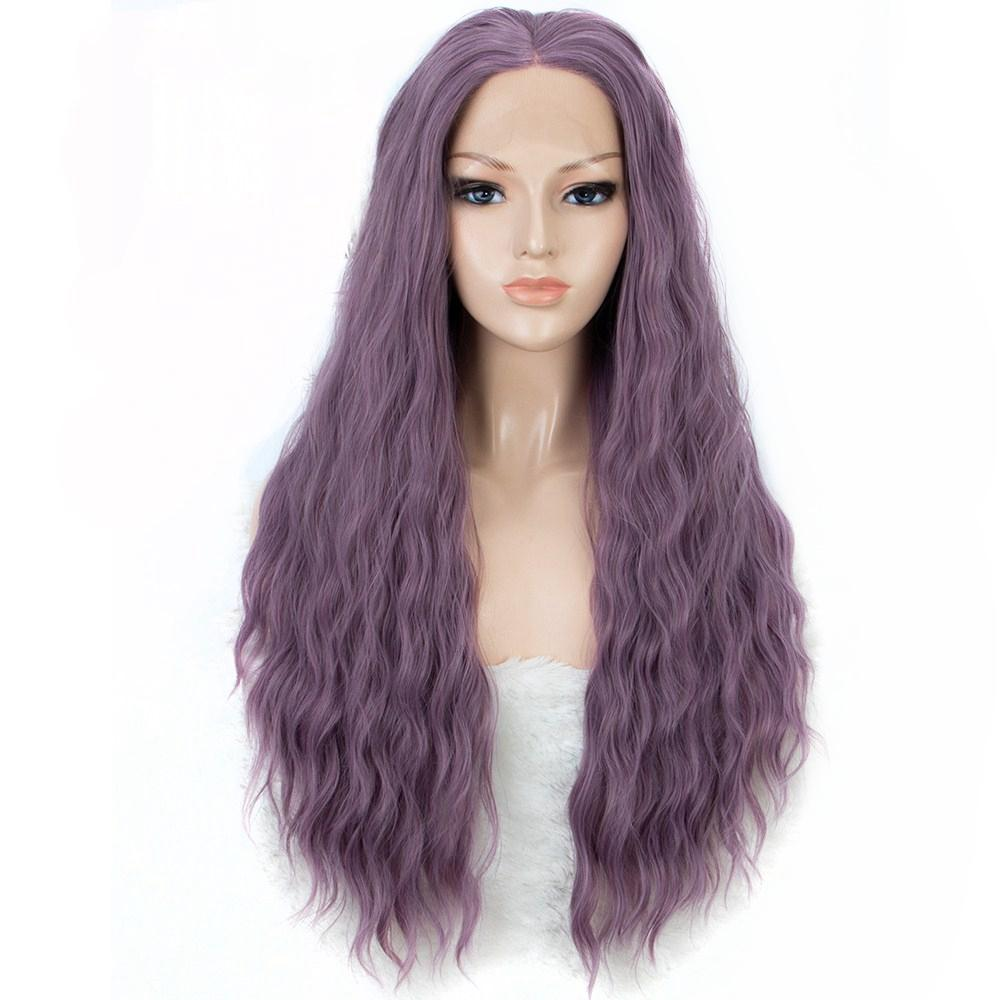 Ash Purple Wig Water Wave Synthetic Lace Front Wigs Middle Part Fashion Party  Wigs For Women Halloween Heat Resistant Fiber Red Lace Front Wigs Wigs  Online ... 997deff0cc