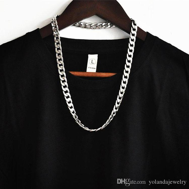 Europa und Amerika Mode MensStainless Stahl Schmuck 1.2cm 24inche Schwere Edelstahl Cuban Figaro Ketten-Halsketten für Frauen Männer