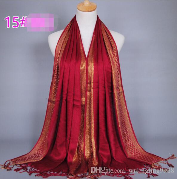 Bufanda de las mujeres Hilo de oro Impresión de la moda Borla de la borla de algodón Lurex Plaid raya chales Bufandas Bufanda musulmán largo Hijab es