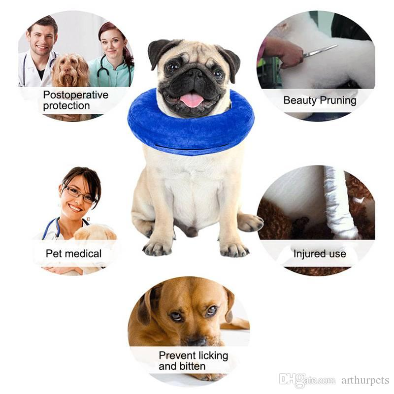 Air Inflatable Pet Collar for Dogs Cats Comfy Wound Healing Protection Anti Bite Safety Collar for Pet Dog Cone Swimming