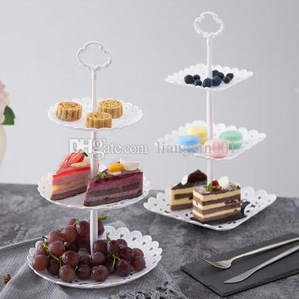 2019 Fruit Plate Cake Snack Tray Dried Fruit Holder Three Layers ...